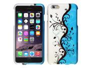 iPhone 6 Plus Case - eForCity Rubberized Design Hard Snap-On Case Cover for Apple iPhone 6 Plus 5.5'', Blue Vines 9SIA0PG21P9529
