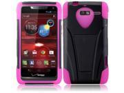 T-Stand Cover Case For Motorola Luge/Droid RAZR M XT907, Black/Hot Pink