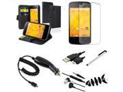 eForCity 7 Bundle Black Leather Wallet Case w/Holder + Matte Screen Protector + Charger For LG Nexus 4 E960