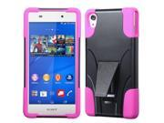 Sony Ericsson Xperia Z3v Case, eForCity Dual Layer [Shock Absorbing] Protection Hybrid Stand PC/Silicone Case Cover For Sony Ericsson Xperia Z3v, Black/Hot Pink