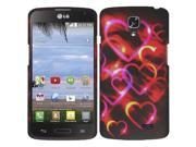 LG F70 D315 Case - eForCity Hearts Rubberized Hard Snap-in Case Cover for LG F70 D315, Black/Red