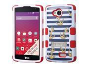 LG Optimus F60 Case - eForCity Tuff Nautical Stripes Dual Layer [Shock Absorbing] Hybrid Stand Rubberized Hard PC/Silicone Case for LG Optimus F60 LG Tribute LS