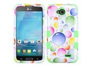 LG Optimus L90 Case, eForCity Tuff Rainbow Bubbles Dual Layer [Shock Absorbing] Protection Hybrid Rubberized Hard PC/Silicone Case Cover for LG Optimus L90, Whi 9SIA0PG2SF7104