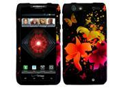 Motorola Droid Razr Maxx Rzar  D1 Case, eForCity Heavenly Flowers Rubberized Hard Snap-in Case Cover for Motorola Droid Razr Maxx Rzar  D1, Black/Orange