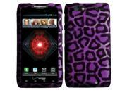 Motorola Droid Razr Maxx Rzar  D1 Case, eForCity Leopard Rubberized Hard Snap-in Case Cover for Motorola Droid Razr Maxx Rzar  D1, Purple/Black