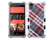 HTC Desire 626 / 626s Case, eForCity Tuff Diagonal Plaid Dual Layer [Shock Absorbing] Protection Hybrid Rubberized Hard PC/Silicone Case Cover For HTC Desire 626 / 626s, Gray/Red