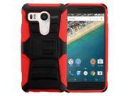 LG Google Nexus 5X Case, eForCity Dual Layer [Shock Absorbing] Protection Hybrid PC / Silicone Holster Case Cover for LG Google Nexus 5X, Black / Red