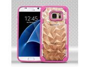 Samsung Galaxy S7 Case, eForCity Polygon PC / TPU Rubber Case Cover For Samsung Galaxy S7, Clear / Hot Pink 9SIA0PG4M12075