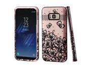 eForCity Lace Flowers VERGE Hybrid Dual Layer PC/ TPU Rubber Case Cover For Samsung Galaxy S8 Plus S8+ - Rose Gold/ Black