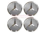 Mercedes-Benz Gray Carbon Fiber Textured Wheel Center Caps, Set of 4