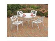 Home Styles Biscayne 5 Piece Metal Patio Dining Set in White
