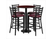 30 Round Mahogany Laminate Table Set with 4 Ladder Back Metal Barstools Burgundy Vinyl Seat