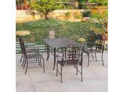International Caravan Mandalay Iron 7 Piece Patio Dining Set in Bronze