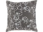 "Surya Pedal Power Down Fill 20"" Square Pillow in Gray"