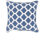 Surya Moroccan Printed Lattice Down Fill 22 Square Pillow in Blue