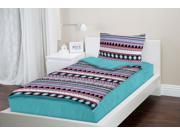 Zipit Bedding Set, Queen, Aqua Aztec - Zip-Up Your Sheets and Comforter Like a Sleeping Bag!
