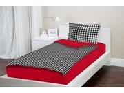 Zipit Bedding Set, Twin Extra-Long (XL) College Bedding, Red Houndstooth - Zip-Up Your Sheets and Comforter Like a Sleeping Bag!