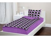 Zipit Bedding Set, Twin Extra-Long (XL) College Bedding, Purple Hearts - Zip-Up Your Sheets and Comforter Like a Sleeping Bag!