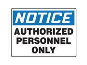 Accuform Signs Notice Sign Auth Personnell Only 24x36In MADM868VP