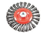 "Wire Wheel Brush, Twist Knot With 5/8""""-11 Threaded Arbor, 6"""" X .012"""" Forney"" 9SIA24G37P7224"