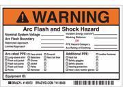 Brady Label, 4in.Hx, 6in.W, Warning Arc Flash, PK5  Vinyl  145972