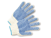 Women's Blue PVC Block String Knit Gloves Dozen 9SIA0SD6KY4942