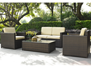 Crosley Palm Harbor 4 Piece Outdoor Wicker Seating Set Loveseat, 2 Chairs & Glass Top Table