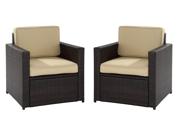 Crosley Palm Harbor 2 Piece Outdoor Wicker Seating Set  2 Outdoor Wicker Chairs