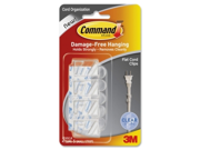 Command Cord Clip, Flat, w/Adhesive, Clear, 4/Pack