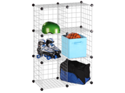 6 Pack Modular Mesh Storage Cube, Silver