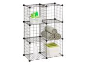 6 Pack Modular Mesh Storage Cube, Black