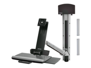 ERGOTRON 45-273-026 StyleView Sit-Stand Combo System with Small CPU Holder (Polished Aluminum)