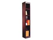 Alera Narrow Profile Bookcase, Wood Veneer, 6-Shelf, 12w x 12d x 72h, Mahogany