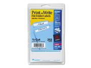 Avery Print or Write File Folder Labels, 11/16 x 3-7/16, WE/Light Blue Bar, 252/Pack