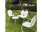 Crosley Griffith 4 Piece Metal Outdoor Conversation Seating Set Loveseat & 2 Chairs in White  w/ Side Table in White