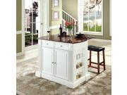 "Crosley Drop Leaf Breakfast Bar Top Kitchen Island in White  w/ 24"" Cherry Upholstered Saddle Stools"