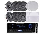 "Pyle 4 Pairs of 150W 5.25"" In-Wall/In-Ceiling Stereo White Speakers w/300W Digital Home Stereo Receiver w/ USB/SD/AUX Input,Remote w/4 Channel High Power Stereo Speaker Selector,4 Volume Controls"