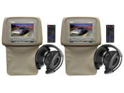 Pyle - Pair of Adjustable Headrests w/ Built-In 7'' TFT/LCD Monitor w/ Built in DVD Player & IR/FM Transmitter With Cover (Tan Color) (Refurbished)