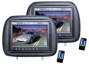 Pyle - Adjustable Headrest Pair with Built-in 7'' TFT-LCD Monitors (Black) (Refurbished)