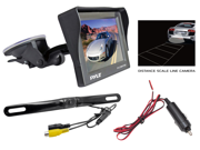 Pyle - 4.7'' Window Suction Mount TFT/LCD Monitor w/ Die Cast License Plate Mount Rearview Backup Color Camera w/ Distance Scale Line