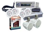 Pyle - Complete Marine Water Proof 6 Speaker CD/USB/Mp3/Combo w/ Stereo Cover (White)