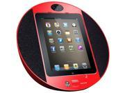 iPod/iPhone iPad Touch Screen Dock with Built-In FM Radio/Alarm Clock (Red)