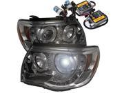 Toyota Tacoma 05-10 Halo LED Projector Headlights - Smoke + Pre-Installed 8000K HID Kit