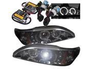 Ford Mustang 94-98 1PC Halo LED Projector Headlights - Smoke + Pre-Installed 8000K HID Kit