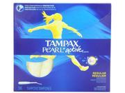 Tampax Pearl Active Plastic, Regular Absorbency, Unscented Tampons, 36 Count