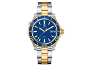 Tag Heuer Aquaracer Blue Dial Yellow Gold Plated & Steel Watch WAK2120.BB0835