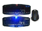 E-3lue E-blue Mazer 2500DPI USB 2.4GHz Wireless Optical Gaming Mouse + LED Illuminated Ergonomic Backlit USB Wired Gaming Keyboard(Multimedia Shortcut Keys, Red/Blue Dimmable Backlight)