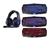 Sades Over Ear Stereo 7.1 Surround Sound PC Gaming Headset & Music Headset+3 Color LED Multimedia Illuminated Backlit USB Wired Gaming Keyboard(Customized Keys,Programmable Macro Keys,Blue/Red/Purple)