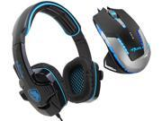 E-Blue Mazer II 2500 DPI Blue LED Optical USB Wired Gaming Mouse+Sades SA-708 Stereo Circumaural Gaming Headset w/ Hidden Microphone
