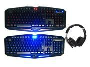 Bluedio USB Connector/ Bluetooth 4.0 Circumaural Wireless Folding Gaming Headset+LED Illuminated Ergonomic Backlit USB Wired Gaming Keyboard(Multimedia Shortcut Keys, Red/Blue Dimmable Backlight)